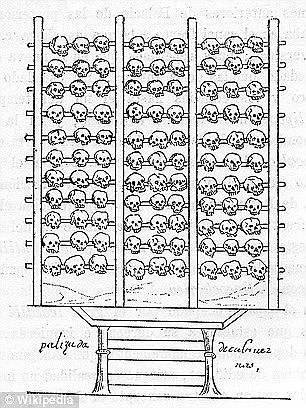 Стена из черепов мужчин, женщин и детей