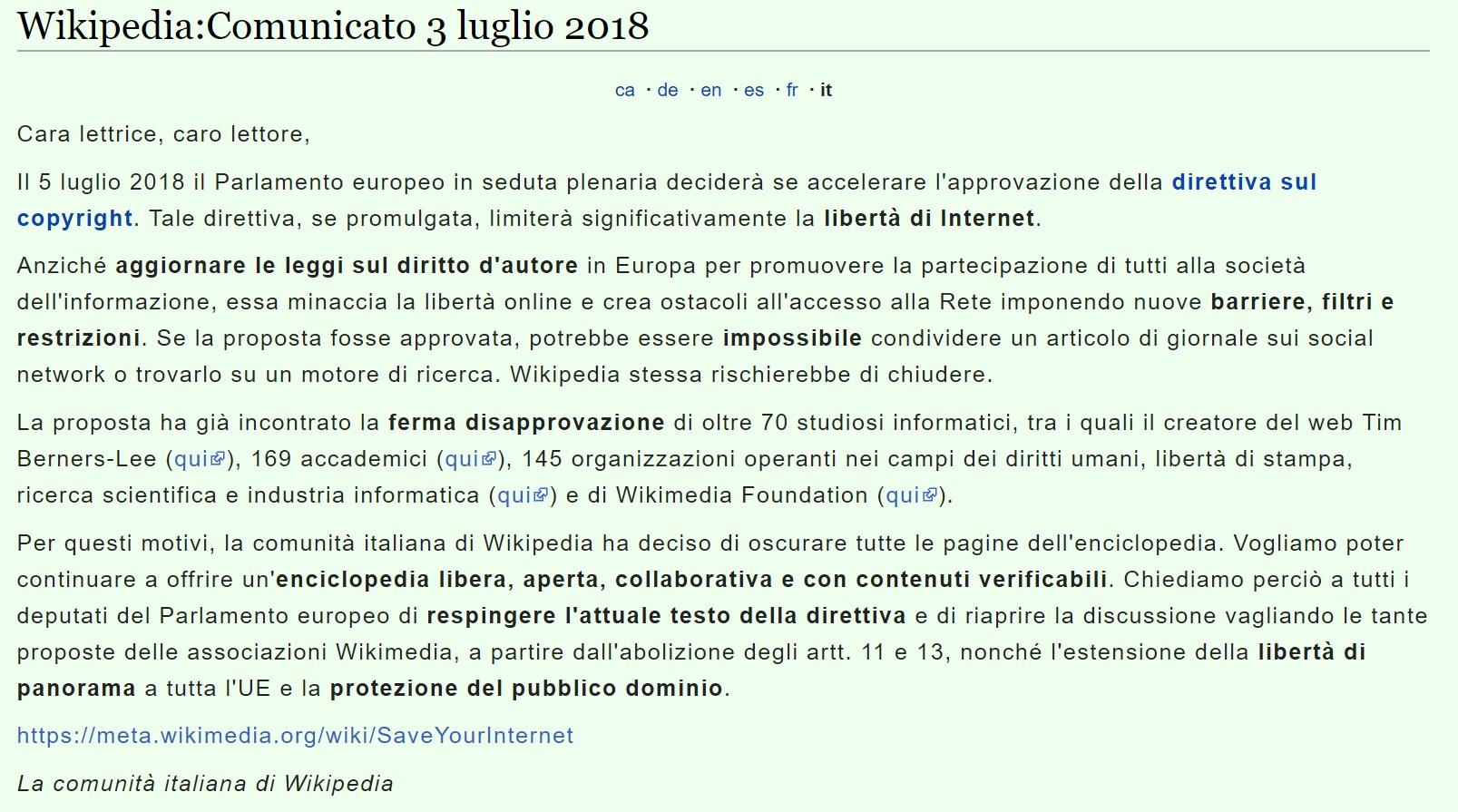 Итальянская Википедия перед голосованием