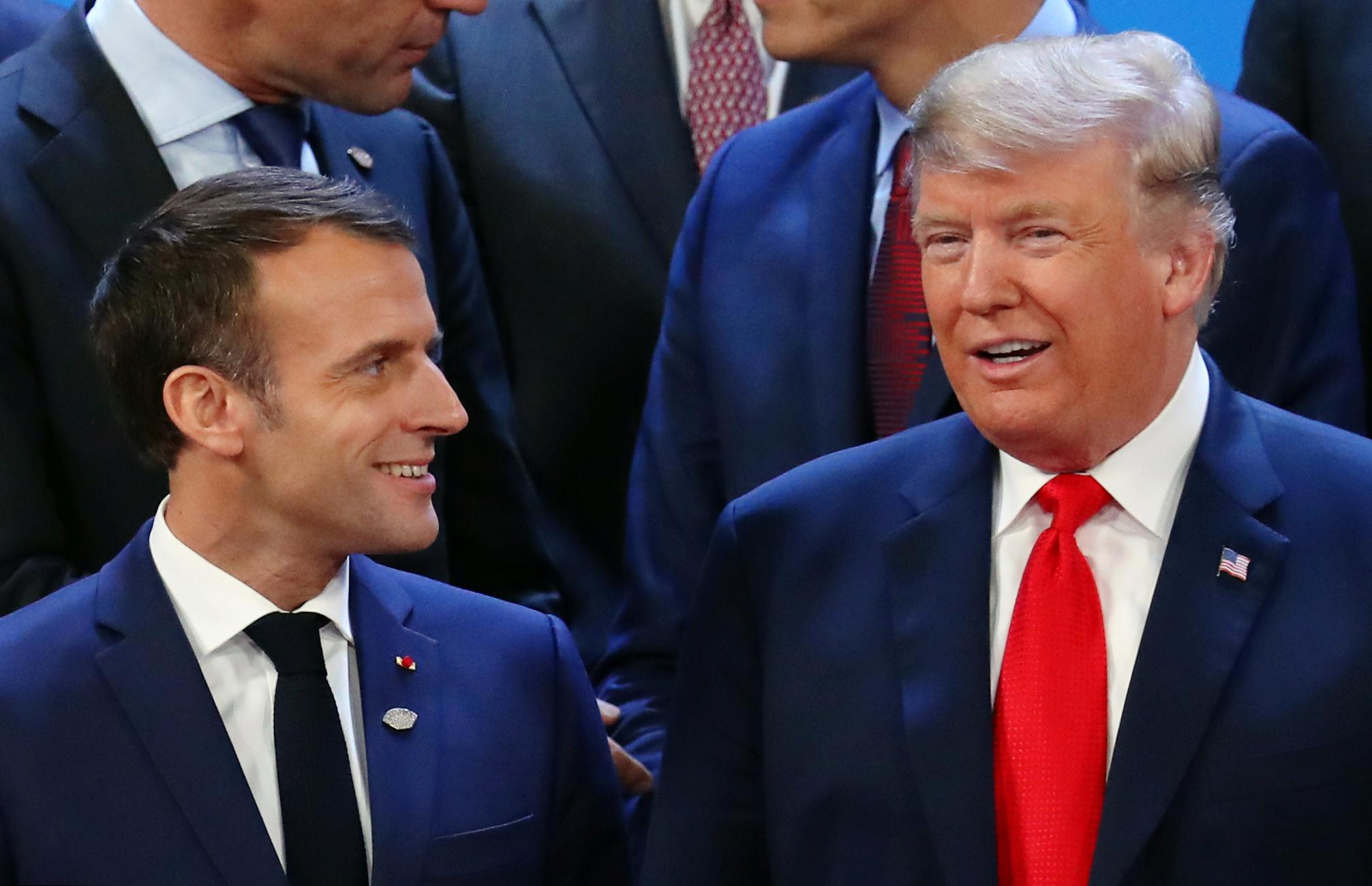 Эмманюэль Макрон и Дональд Трамп на G20