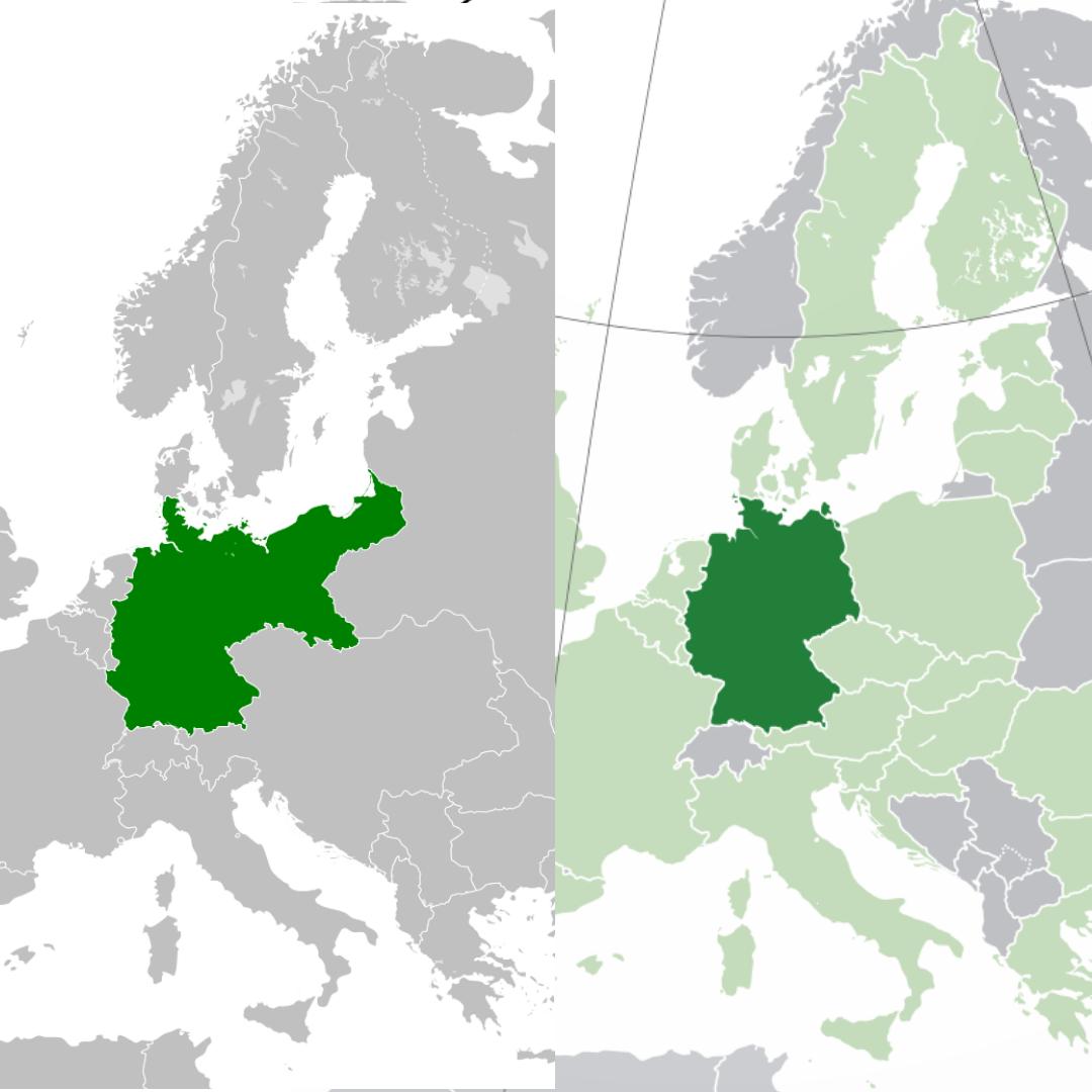 Слева: Германская империя в 1871—1918 годах. Справа: современная Германия