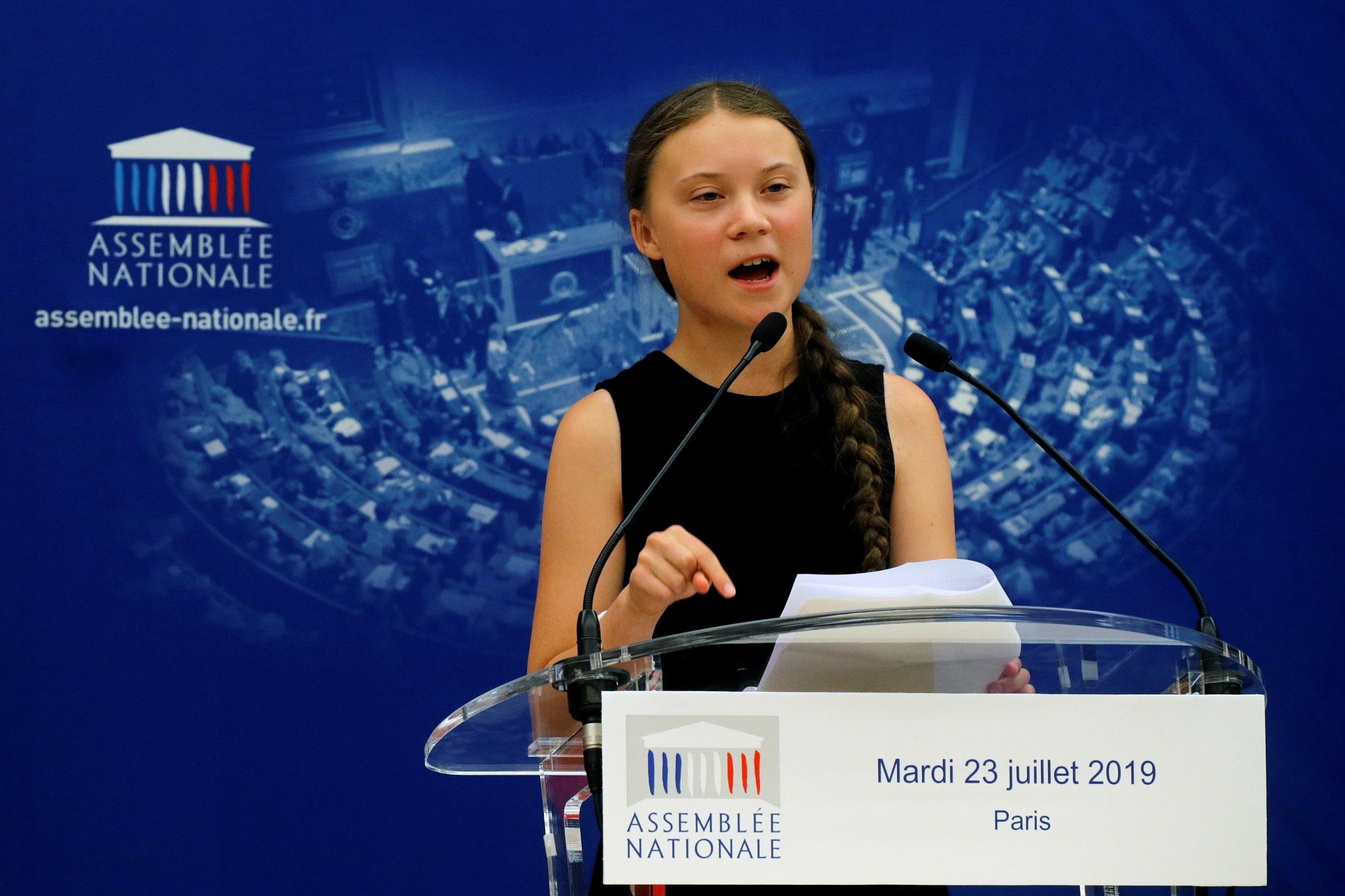 Тунберг ругает представителей Национальной Ассамблеи Франции