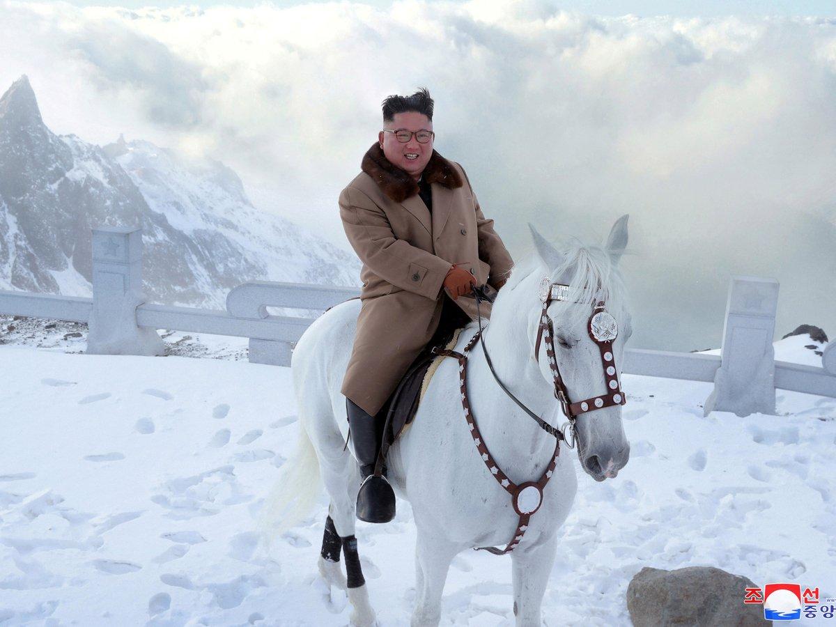 Ким Чен Ын поскакал на лошадке на самую высокую гору в КНДР (фото)