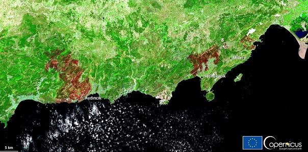 Спутниковый снимок затронутой территории